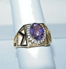 10kt Yellow Gold Ladies Ring Amethyst And Diamond New Size 7  Reduced