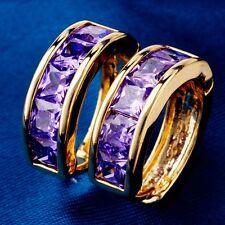 Gold Plated C.Z Hoop Earrings Classic Mysterious Purple Designs Women Lady