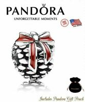 Authentic PANDORA S925 ALE Christmas Red Enamel Pinecone Bow Charm 791237EN39