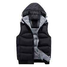 Mens Cotton New Body Warmer Gilet Quilted Coat Padded Detach Hooded Vest Jacket