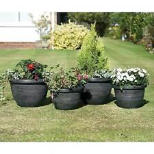 Garden Planters x 4 Gunmetal Grey /Pewter Finish Round Plant Pot Holders Indoor
