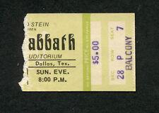 1975 Black Sabbath concert ticket stub Dallas Texas Sabotage Tour Ozzy Osbourne