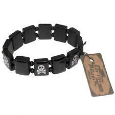 Bracelet - tête de mort en bois & élastique  - noir & blanc -   skull bracelet