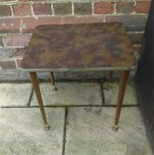Vintage retro mid century brown marble effect coffee side table tapered