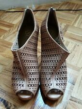 Ann Taylor nude tan lattice mesh leather ankle boots booties  high heels 9 1/2