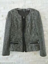 Elie Tahari Nordstrom $445 Black & White Knit Tweed Zip Front Jacket Blazer 12