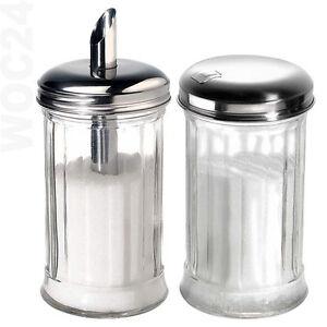 GASTRO Zuckerstreuer Zuckerspender Zuckerdose Zuckerdosierer Glas Streuer