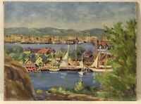 Original 1920-30Oil Painting Gloucester Massachusetts Harbor Possibly Signed