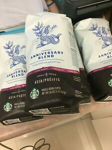 Lot  4 bags Starbucks Anniversary Blend Asia  Pacific Coffee-16 oz