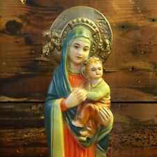 mother mary religious statue Baby Jesus Vintage Beautiful Colours