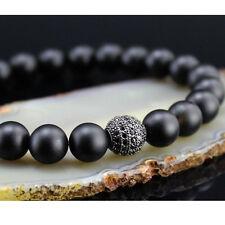 Handmade 6mm Matte Onyx Stone Rhodium Plated CZ Ball Mans Beaded Bracelet Bangle