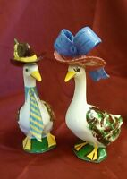 Vintage Pair of Ceramic Geese Figurines Dressed for Sunday Dinner Mr & Mrs Goose
