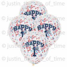 "1ST BIRTHDAY Clear Boy Nautical Party Decorations 12"" Latex CONFETTI BALLOONS x6"