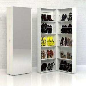 Large White Hall 32 Pair Shoe Cabinet/Hallway Shelving Unit/Utility Cupboard
