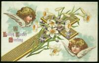 Vintage Religious Loving Easter Postcard with Cross and Angels
