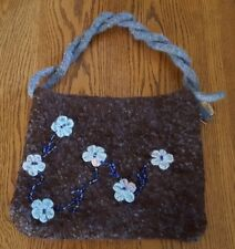 Handcrafted Wool Boho Shoulder Bag Brown Blue Medium NWOT