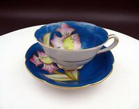"""CTU CHINA JAPANESE PORCELAIN BLUE AND PINK FLORAL 2"""" CUP AND SAUCER SET"""