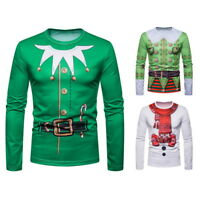 Men's Basic Blouse Shirt Tshirt Long Sleeve Tops Christmas Costume Cosplay