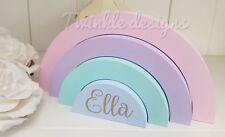Personalised name wooden freestanding pastel stacking rainbow girls gift