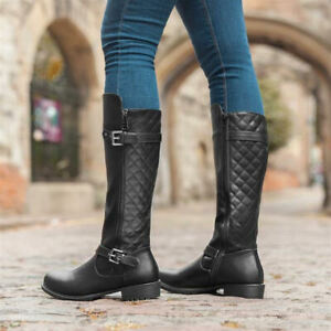 Ladies Long Quilted Flat Block Heel Knee High Biker Riding Boots Black Size 3-9