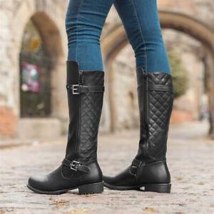 Ladies Long Quilted Flat Block Heel Knee High Biker Riding Boots Black Size 3-9
