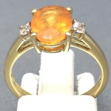 "STUNNING 10CT YELLOW GOLD *CITRINE & CUBIC ZIRCON* DRESS RING  SIZE ""L½""  1462"