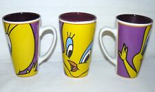 Gibson 1998 Looney Tunes 14 Oz Set Of 3 Tweety Bird Tall Coffee Mugs Vintage