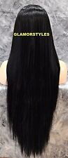 Very Long Straight Jet Black Full Lace Front Wig Heat Ok Hair Piece #1 NWT