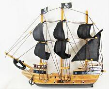 Pirate Ship Hand Crafted  Wood w/Black Sails, Jolly Rogers & Rigging Wall Decor
