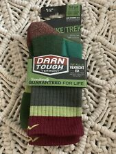 Darn Tough Hike Trek Crew Socks Light Cushion Medium #1924 Green Merino Wool NWT