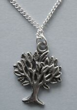 Life - dainty (16mmx18mm) Silver Tone Chain Necklace #273 Pewter Tree of