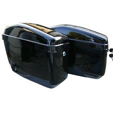 Black Hard Saddle Bags Trunk Luggage Motorcycle Cruiser w/ Mounting Brackets