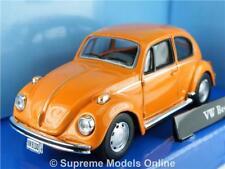 VOLKSWAGEN BEETLE CAR 1/43RD SIZE ORANGE 2 DOOR DARK INTERIOR VERSION R0154X{:}