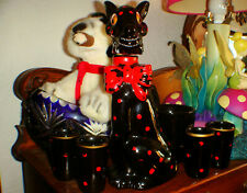New listing retro vintage black schnauser pitcher dog 4 shot drinking glasses polka dots set