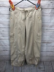 Jones New York Cargo Capri Cropped Pants Beige Women's Size 6 Pockets Cotton