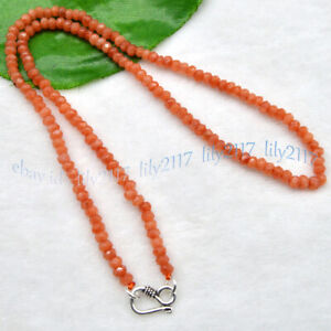 2x4mm Natural Orange Topaz Faceted Gemstone Roundel Beads Necklace Silver Clasp