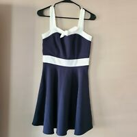 Monteau Blue White Nautical Fit Flare Sailor Dress Bow Bust Back Size Small