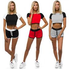 Sportanzug Trainingsanzug T-Shirt Kurzhose Shorts Fitness Damen OZONEE Z/D1022