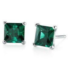 1.85 ct Princess Cut Green Created Emerald Stud Earrings in 14K White Gold