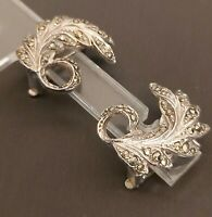 LOVELY VINTAGE SILVER TONE & MARCASITE DETAILED LEAF CLIP ON EARRINGS
