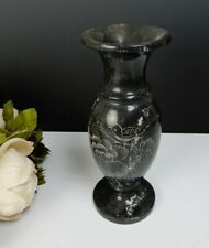 Vintage Marble Urn Vase Black & Grey w/Etched Floral Design