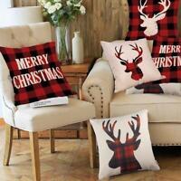 Christmas Red Grid Elk Head Linen Throw Pillow Case Cushion Cover Sofa Decor
