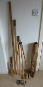 Vintage Surveyors Wooden Tripod & Rods in Carry Case