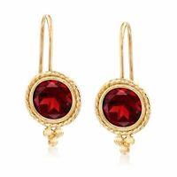 Ross-Simons Garnet Drop Earrings in 14kt Gold