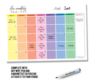 Hanging Wipe Clean Monthly Family Planner - A3 Size - Meal Events Appointments