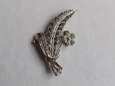 Beautiful Costume Flower Brooch with Sparkling Marcasite Stones
