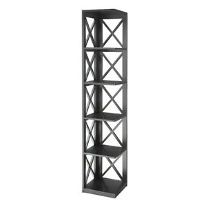 Convenience Concepts Oxford 5 Tier Corner Bookcase, Black - 203080BL