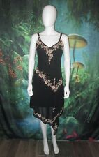 R & M RICHARDS Womens BLack Floral Embroidered GOWN SIZE 6P (E)