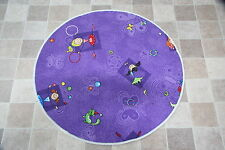 Purple Girls Bedroom Play Mat Rug Girly Circle 80cm Princess Fairies Dance Mat