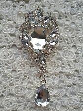 Silver crystal droplet diamante brooch bouquets corsage wedding cake brooches